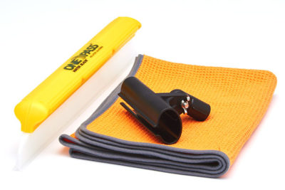 A wide yellow silcon squeegee blade with black extension pole connector and large microfiber towel