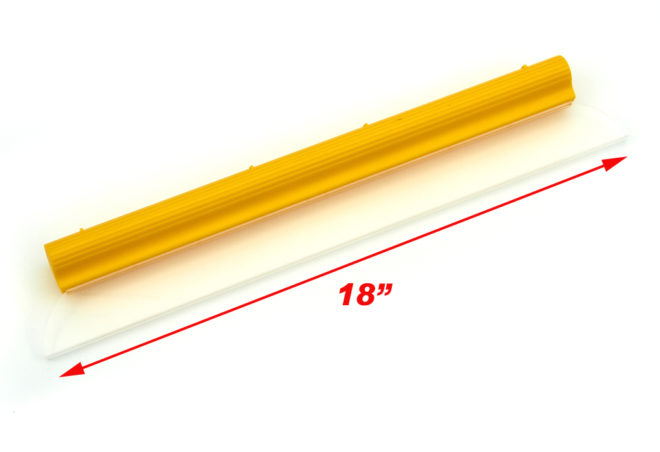 A wide yellow handheld silicon squeegee blade