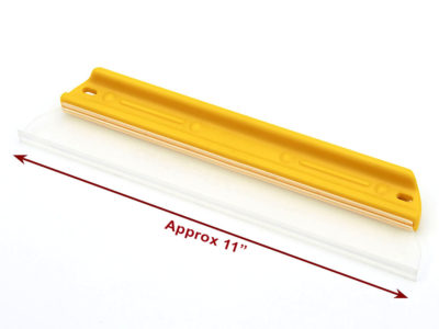 a rectangular silicon squeegee blade with a yellow handle