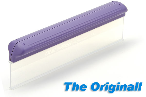 a rectangular silicon squeegee blade with a purple handle