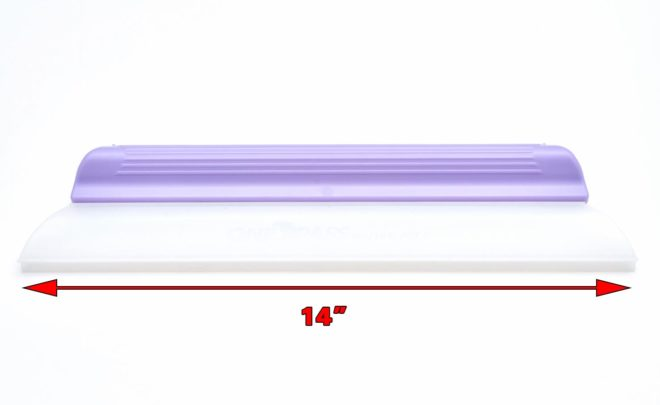 A purple handheld silicon squeegee blade